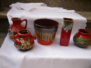 Konvolut 60er 70er Vintage Fat Lava Keramik rot Vase Krug Umtopf