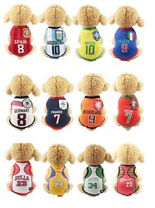 Puppy Dog Cat Shirt Net Vest Clothes Apparel SPORT Football Soccer SMALL & LARGE