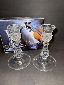 "CRISTAL D' ARQUES LONGCHAMP Chandelier Candlestick Pair 6 1/2"" Tall Mint!"