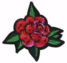 SEQUIN ROSE APPLIQUE PATCH,PINK RED ROSE PETAL EMBROIDERED LEAFS (SF-353)