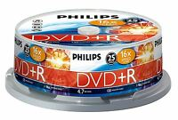 PHILIPS DVD+R 120 MIN VIDEO 4.7GB DATI 16X VELOCITÀ VUOTI DISC TORRE 25