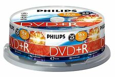 PHILIPS DVD+R 120 MIN VIDEO 4.7GB DATOS 16X VELOCIDAD BLANCO DISCOS SOPORTE 25