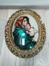 Lighted Glass Madonna & Child By Ferruzzi In Gilt wooden Frame Italy rare
