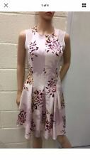 NEXT LADIES PINK FLORAL PRINT FLARE SKATER DRESS SIZE UK 12 BRAND NEW