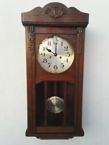 ANTIQUE PENDULUM WALL CLOCK REGULATOR OAK GONG (like Junghans Kienzle Becker)
