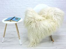 Genuine curly creamy light beige Icelandic single sheepskin rug
