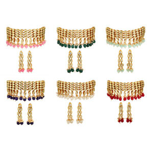 Indian Bollywood Gold Plated Kundan Choker Traditional Necklace Set For Women