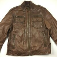 MURANO SPORT Men's XL Brown Zip Up Pockets Elbow Patch Leather Bomber Jacket