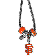 San Francisco Giants Snake Chain Necklace with Euro Beads MLB Licensed Jewelry