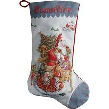 COUNTED CROSS STITCH Christmas Stocking KIT Old World Santa 18""