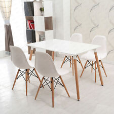 New Rectangle White Dining table & 4 Chairs Set Retro Simple Style Furniture