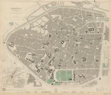 BRUSSELS BRUXELLES BRUSSEL antique town city map plan & environs SDUK 1844