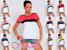 Multicolour Women's Top Boat Neck Short Sleeve Casual T-Shirt Sizes 8-18 8112