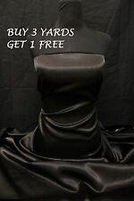 "Heavy Satin Plain Shiny Black (Crepe Backing) Dress-Making Fabric Material 60"""