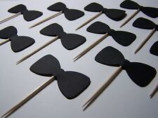 Black Bow tie party cupcake toppers set of 12 bachelor or bachelorette Party