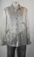 Apriori Bluse 38 transparent silber mit Glanz Polyester blouse neu m.Etikett