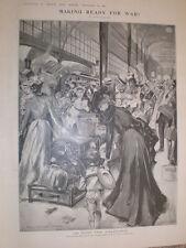 Making Ready for (Boer) War Flight from Johannesburg Hal Hurst 1899 old print