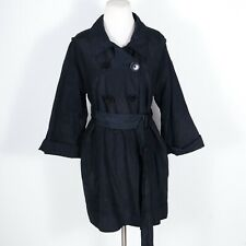 Robert Rodriguez Belted Trench Coat Double Breasted Black 10
