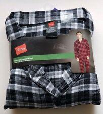 Hanes Flannel 2pc Pajama Set Shirt & Pants 2XL New Black Plaid