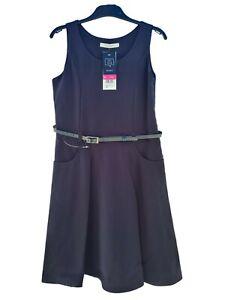 ! EX F&F ! Girls Uniform Kids Belted Pinafore School Wear Dress Navy Size 6-7yrs