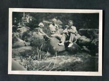 C1920s Original Photo: Man, Women, Child & Dog Sitting on Rocks, Dartmoor