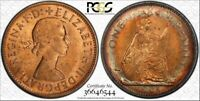 1963 GREAT BRITAIN ONE PENNY PCGS BU MS64RB COLOR TONED COIN NONE GRADED HIGHER
