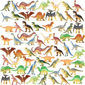 Prextex Box of Mini Dinosaur Toys (72 Count) Best for Dinosaur Party Favors Cake