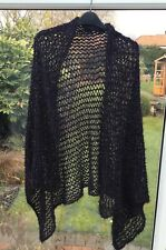 Ladies Hand Knitted Wrap/ Shawl In Black And Purple