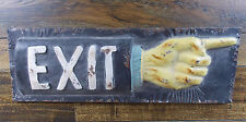 """ANTIQUE-STYLE 19"""" METAL """"EXIT HAND""""  WALL SIGN man cave rustic weathered look"""