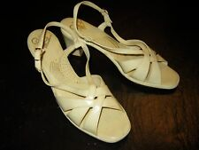 Vintage 'Selby' Cream Patented Leather Heeled Sandals Size 8N