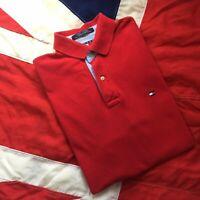 MENS ORIGINAL 90S FLAG TOMMY HILFIGER RED POLO SHIRT MEDIUM