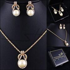Perlen-Set: Kette+Ohrstecker *Gold-Perle*, vergoldet, Swarovski Elements, +Etui