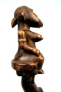 Art Africain Tribal - Ancienne Cuillère Rituelle Senoufo sur Socle - 42 Cms ++++