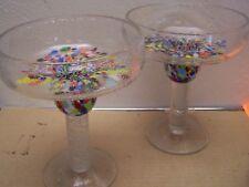 "2 Handblown Glass Tlaquepaque 5.25"" Colored Speckled Margarita Glasses - Mexico"