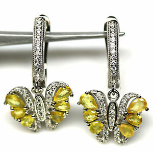 NATURAL YELLOW SAPPHIRE & WHITE CZ EARRINGS 925 STERLING SILVER