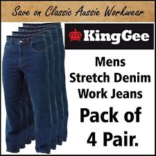 KING GEE MENS STRETCH DENIM WORK JEAN K03390 <PACK OF 4 PAIR> 21 SIZES AVAILABLE