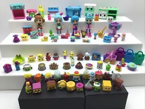 Shopkins Shoppies Happy Places Lot 4 Dolls Figures Furniture Rare Gold Littles