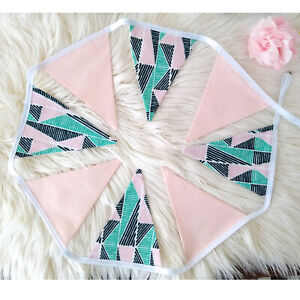 Pink Teal FLAG BUNTING Cotton - 2 Yards / 8 Flags Nursery Party Baby Photo Boho
