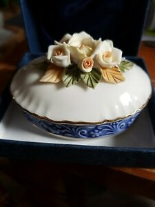 Regal Bone China Collection Floral Pattern Lidded Trinket Dish in Box.