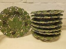 Vtg Porcelain Majolica Basket Weaved Green Leaf & Grape Design Set of 8 Plates