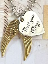 Silver and Gold 'Trust Your Wings' Necklace. Faith. Love. Inspire. Dog Tag.