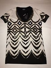 BNWT Just Cavalli Woman's Studded Short Sleeve V-Neck T-Shirt. Size M. RRP £145