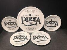 CERAMIC GALLERY PIZZA TRAY AND 4 PLATES  SET- FUN DESIGN !