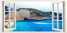 3D Window Effect on Canvas Greece Zante Greek Holiday Sea Picture Wall Art Print