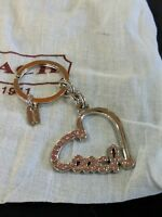 NWOT COACH SCRIPT HEART CHARM KEY CHAIN FOB RING PAVE PINK CRYSTALS 92631