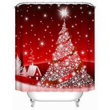 Red Christmas Tree 3D Digital Printing Waterproof Bathroom Shower Curtain #Cu3