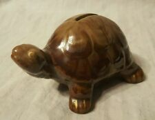 Vintage Red Ware Pottery Turtle Coin Bank ~ Brown Drip Glaze ~ Great Condition
