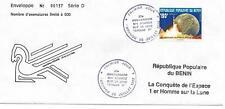 BÉNIN 1989 ENVELOPPE N°137/500 LA CONQUÊTE DE L'ESPACE 1er HOMME SUR LA LUNE