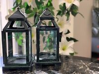 Set Of 2 Lantern Shaded Green Candle Holder Home Decore Hanging Furnishing Holds