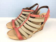 New Aerosoles A2 Beige Coral Strappy Gladiator wedge Heel Sandals 7 Career Party